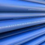Blue PE water pipe in stock yard