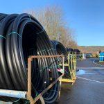 Black PE coils in stock yard