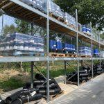 Stock yard for PE water fittings