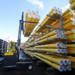 Yellow gas MDPE pipe storage
